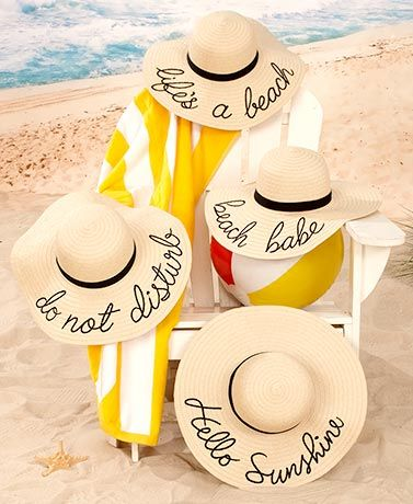 8bcef96dfc0 This Embroidered Sentiment Floppy Sun Hat is a fun and stylish way to  express yourself at the beach. It s soft to the touch and made of natural  straw and ...