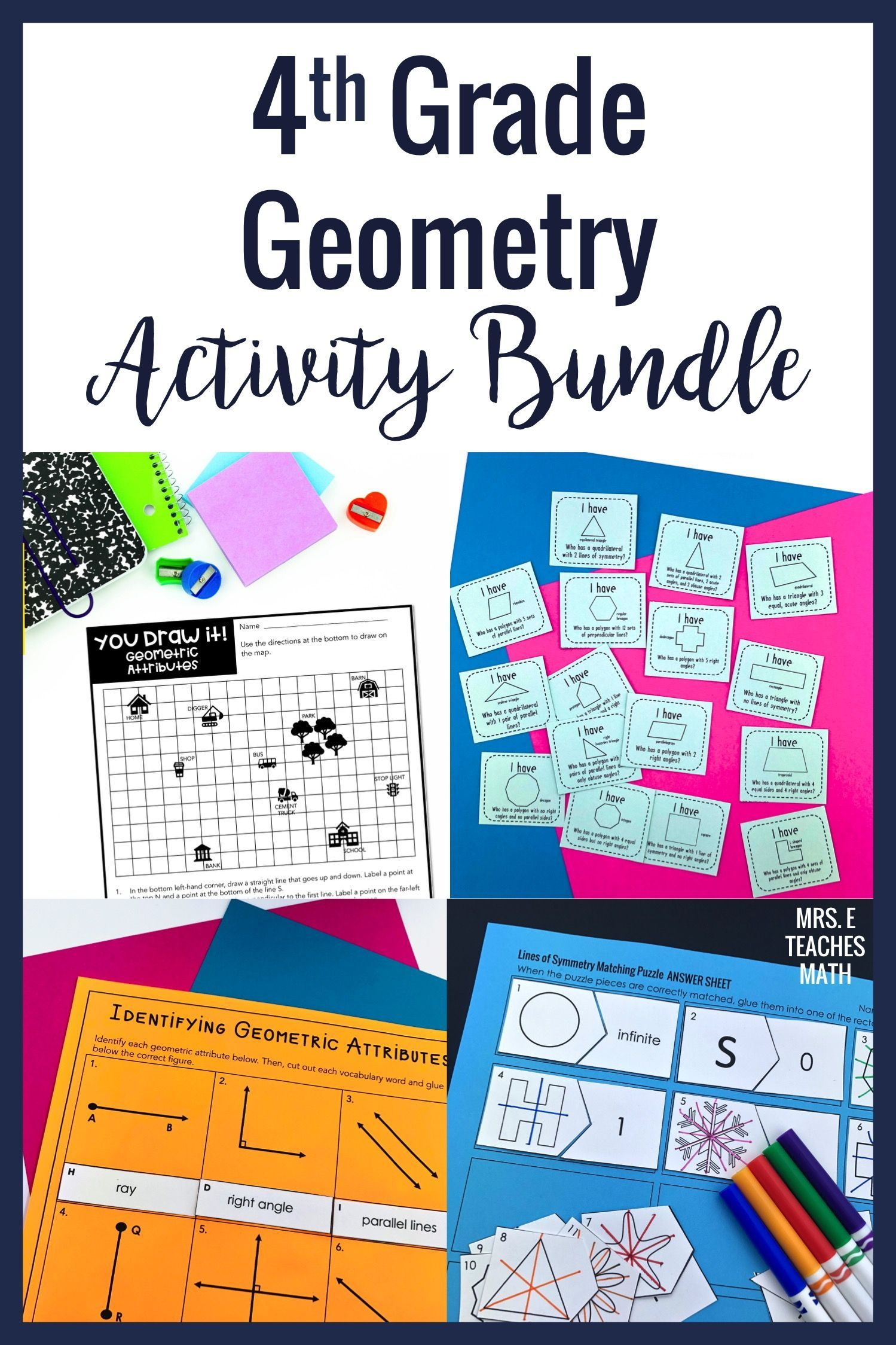 4th Grade Geometry Activity Bundle 4.G in 2020 Teaching