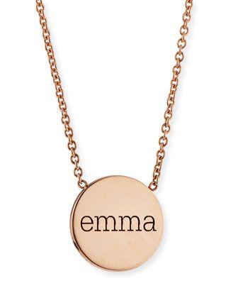 Personalized Disc Pendant Necklace by Zoe Chicco at Neiman Marcus.