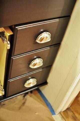 oak cabinets bathroom vanity diy // stained java dark