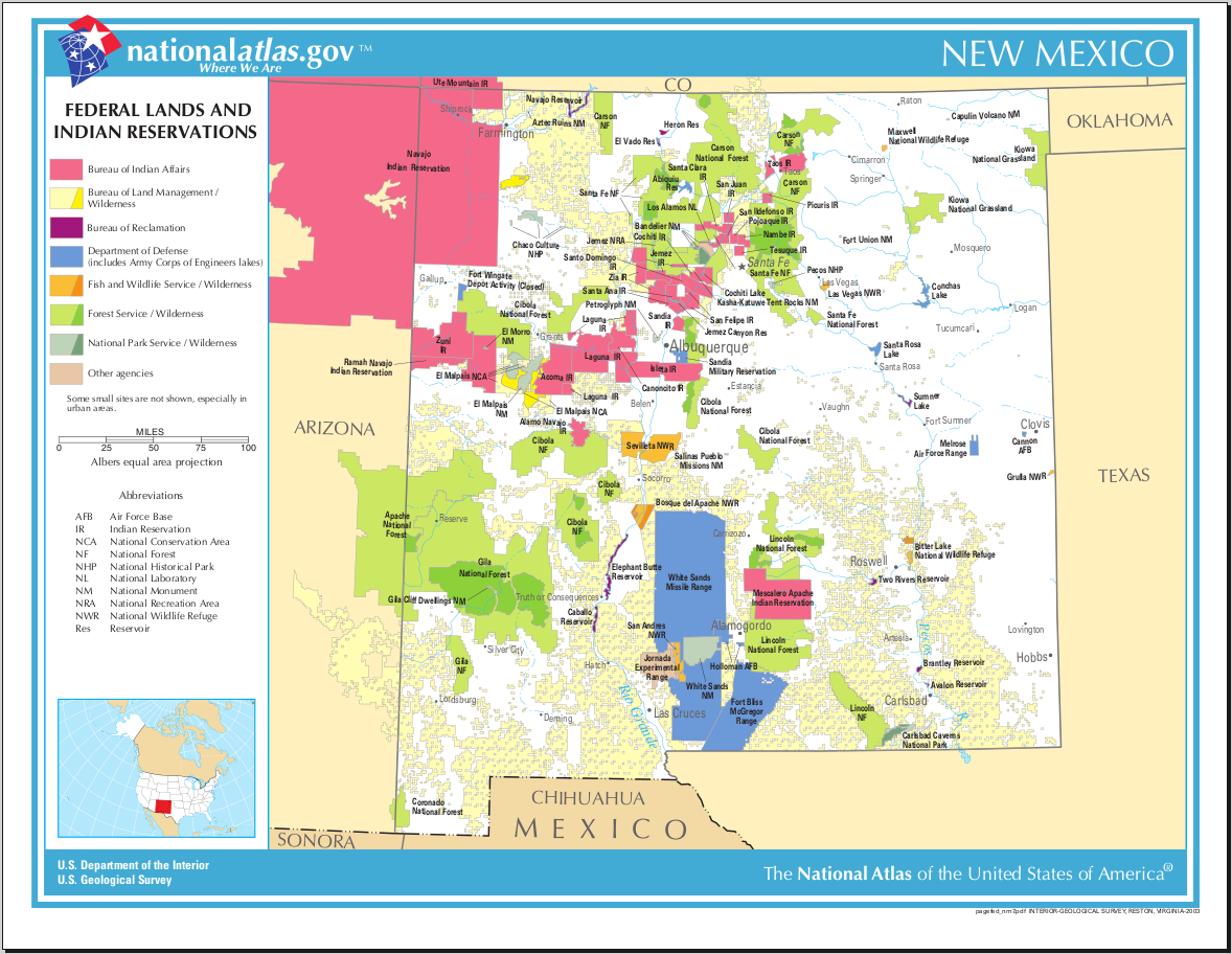 Map Of New Mexico Map Federal Lands And Indian
