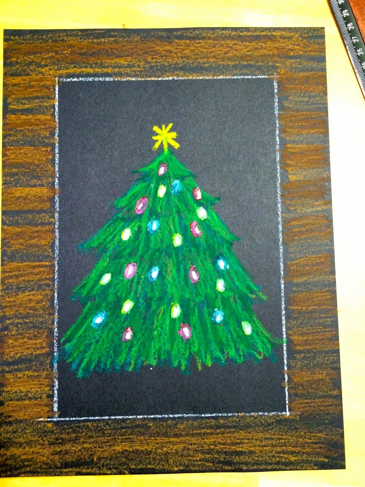 Kathy S Angelnik Designs Art Project Ideas Oil Pastel Christmas Tree In A Snowstorm Christmas Art For Kids Holiday Art Projects Christmas Art
