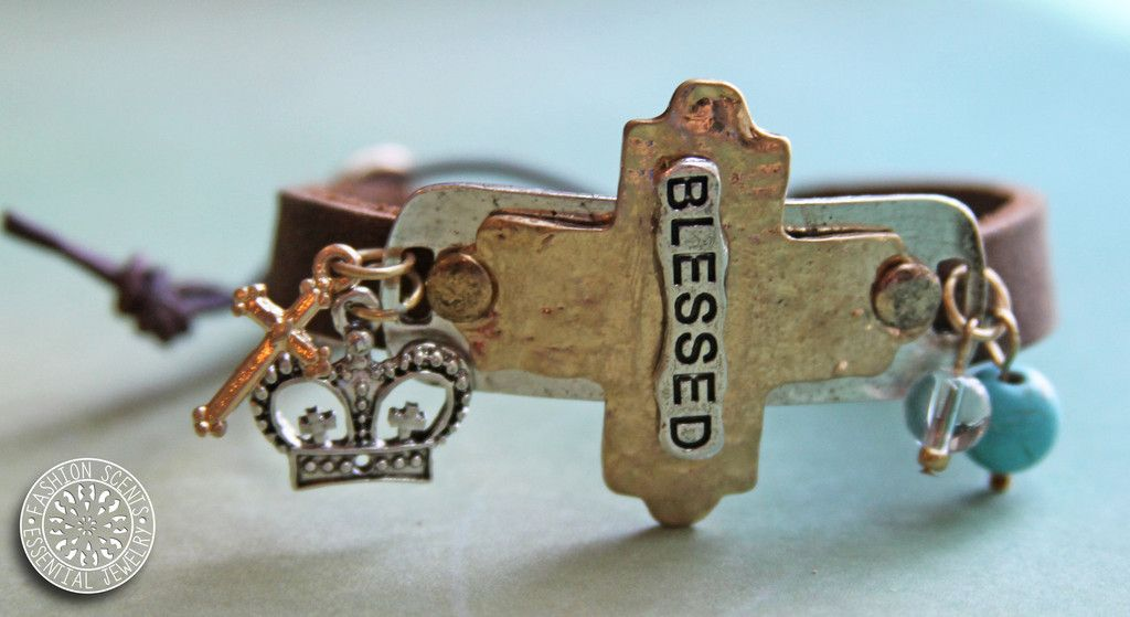 'Blessed' Stamped Leather Diffuser Bracelet