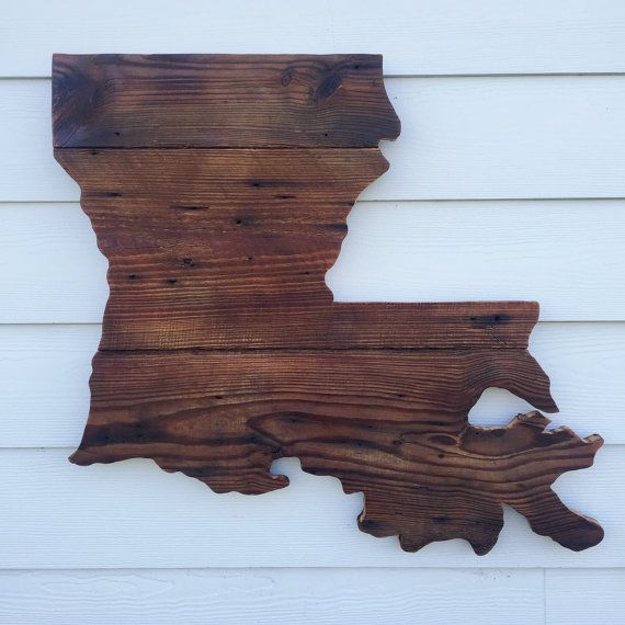 Louisiana Home Decor: Reclaimed Wood Louisiana Sign Rustic State By