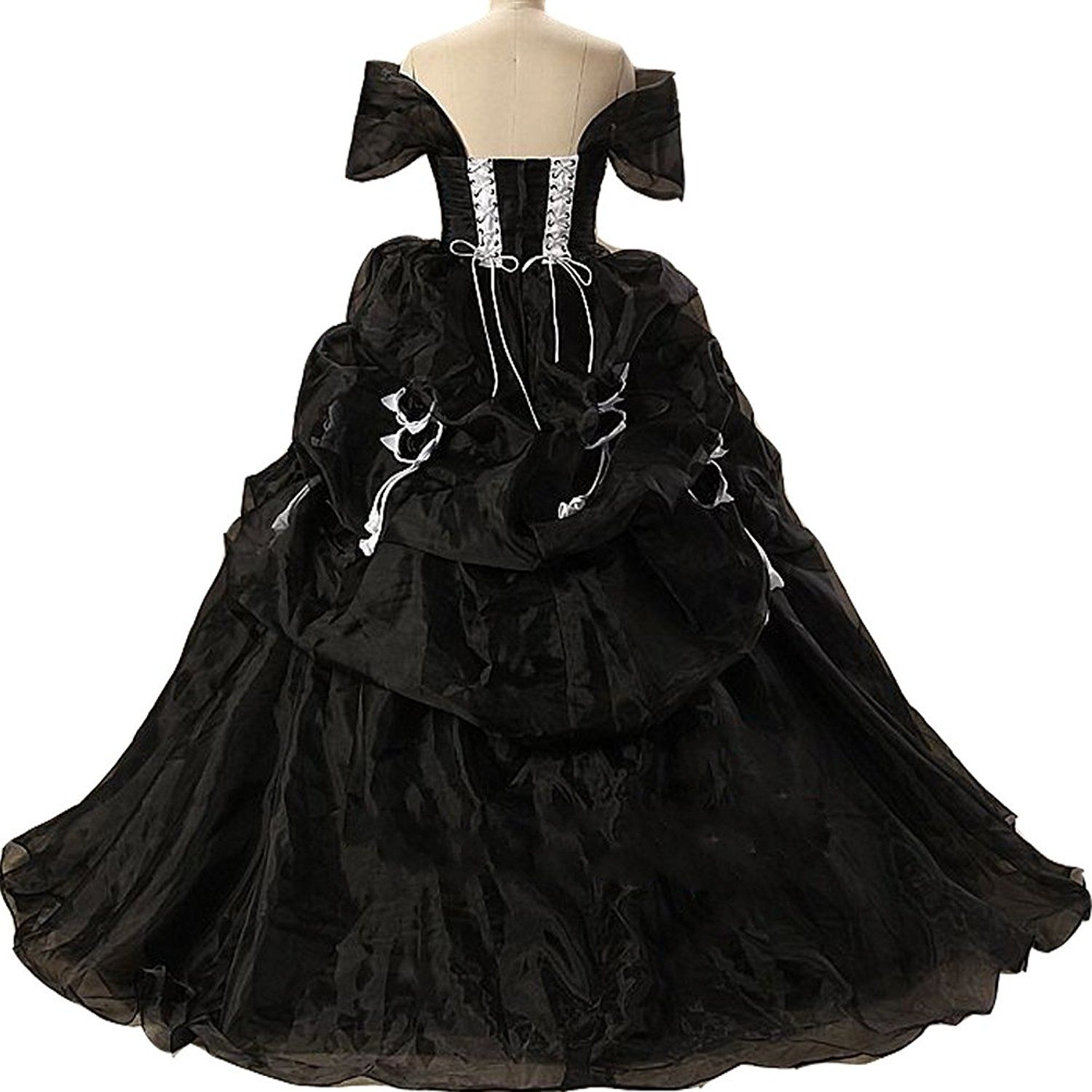 Lemai Vintage Black and White Ball Gown Off Shoulder