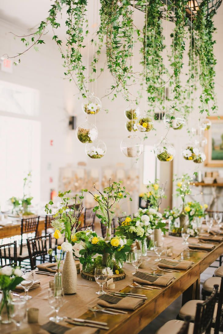 Whimsical Suspended Moss And Ivy Centerpieces Are Perfect For A Rustic Bohemian Wedd Rustic Bohemian Wedding Maine Wedding Venues Bohemian Wedding Decorations
