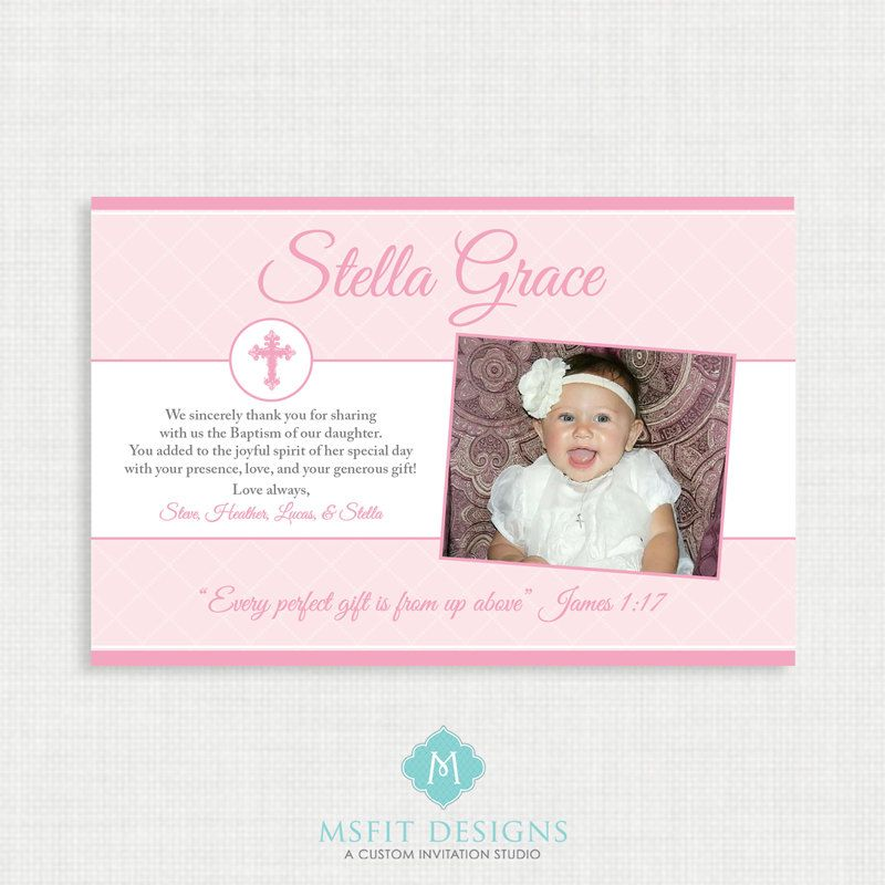 Printable Baptism Thank You Card - Printable thank you card - printable thank you note