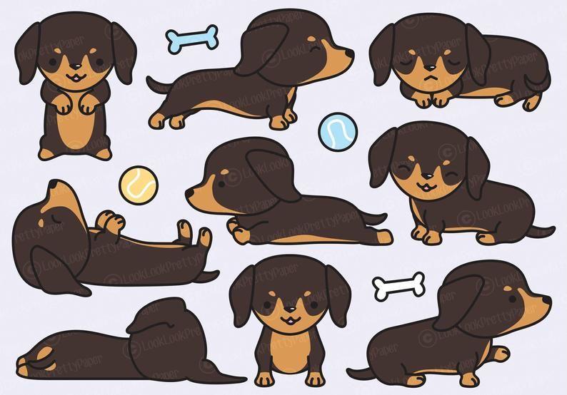 Premium Vector Clipart Kawaii Dachshund Cute Dachshund Clipart