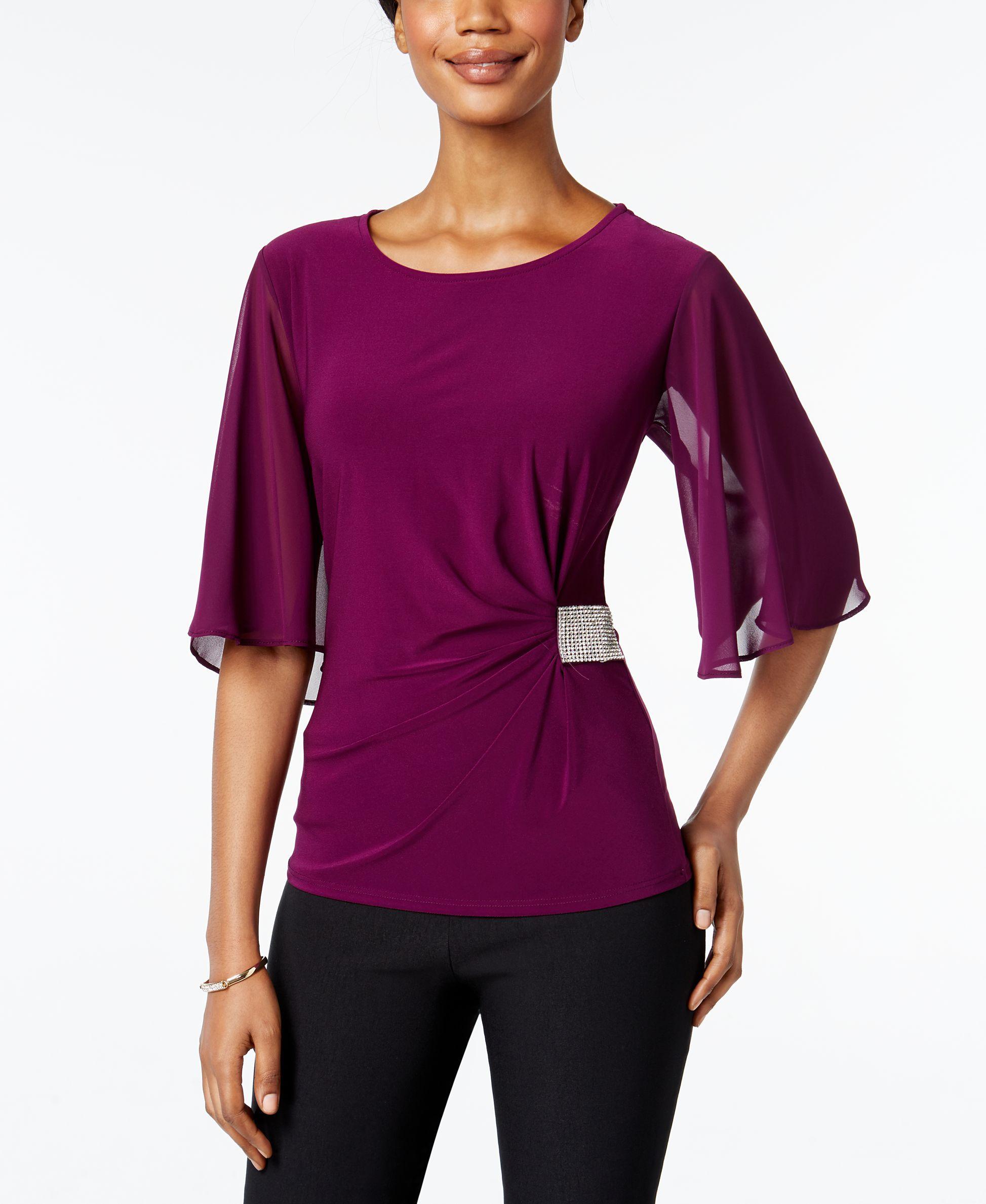 e711f66ffe6b Msk Rhinestone Flutter-Sleeve Evening Blouse | Products | Pinterest ...