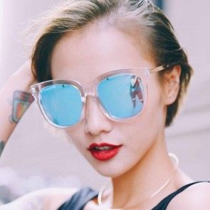 Large retro square horn rimmed sunglasses for women