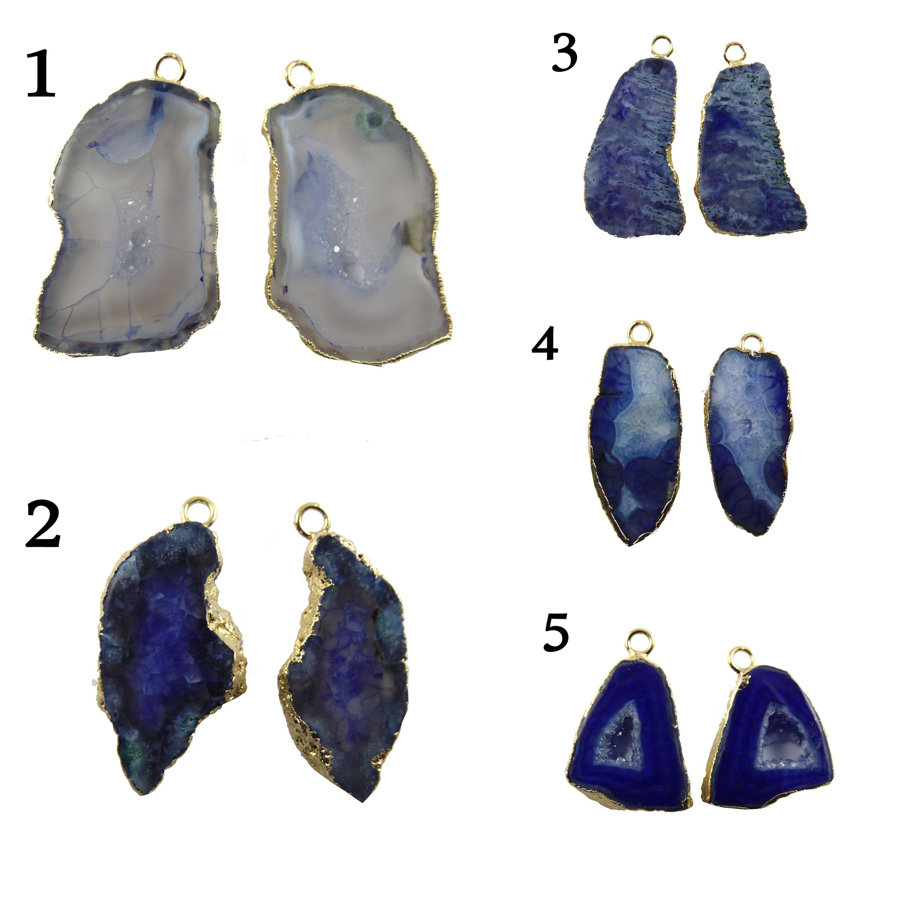 Blue Green Natural Geode Slice Druzy Gold Plated Fashion Designer Connector DIY