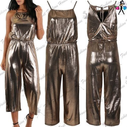 d1872ffd66 Womens Ladies Gold Foil High Neck Cami Strap Back Cut Lace Playsuit Jumpsuit