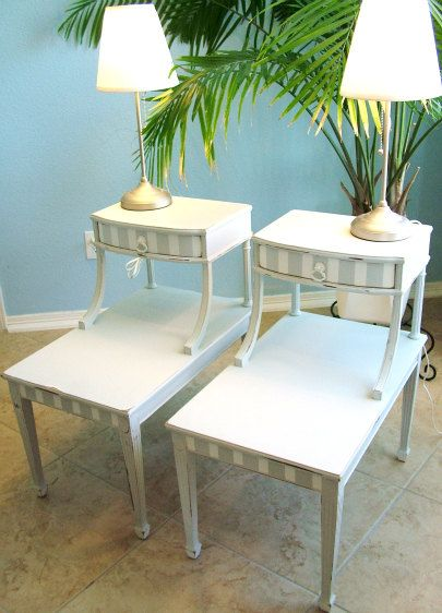 Pair Of Vintage, Two Tier, Newly Refinished, Shabby Chic, Mahogany End  Tables