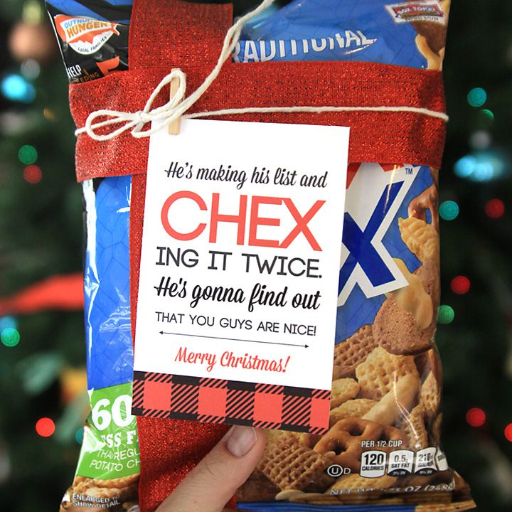 Gift Ideas For Coworkers For Christmas: Easy Neighbor Gift Idea: CHEX Mix + Cute Tag