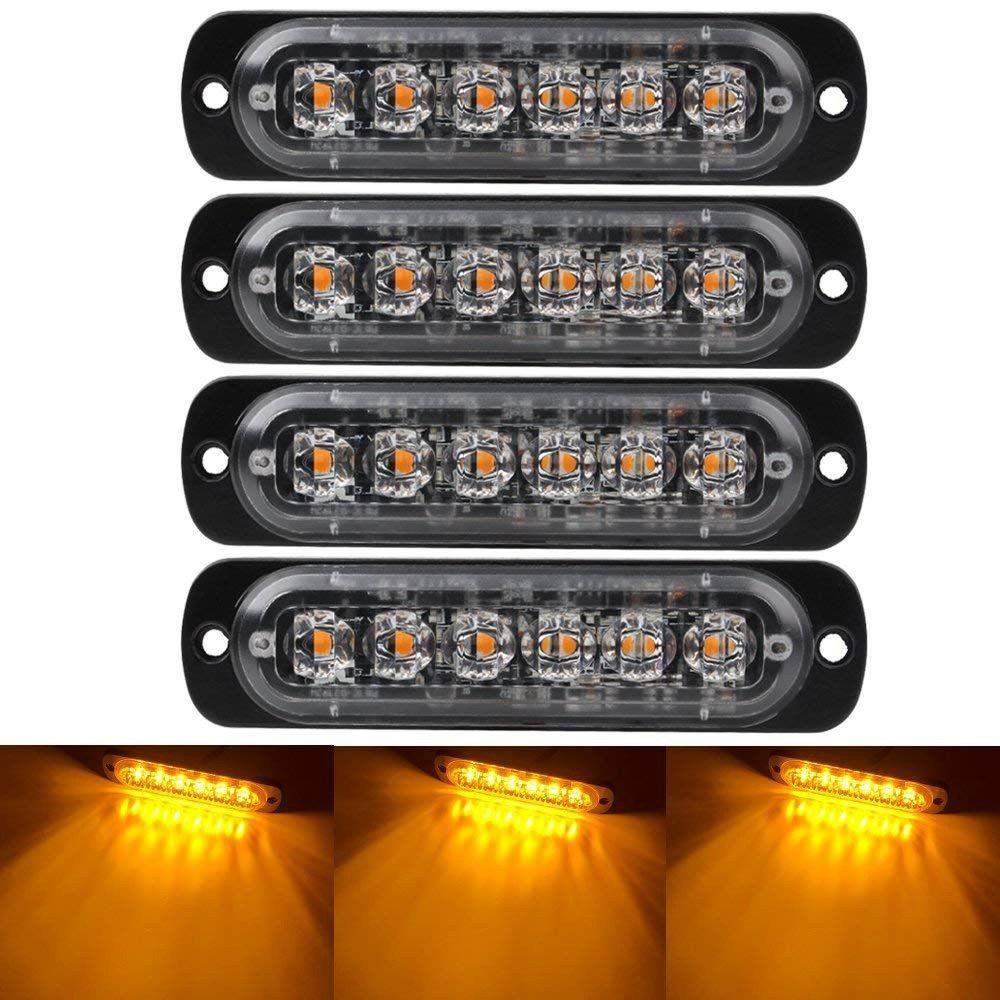 4 Pcs Emergency Warning Lights For Vehicles Trucks Emergency Beacon Warning Hazard Flash Strobe Light 6 Led Surface Mount Waterproof Boughtagain In 2020 Strobe Lights For Trucks Led Light Bars Strobe Lights