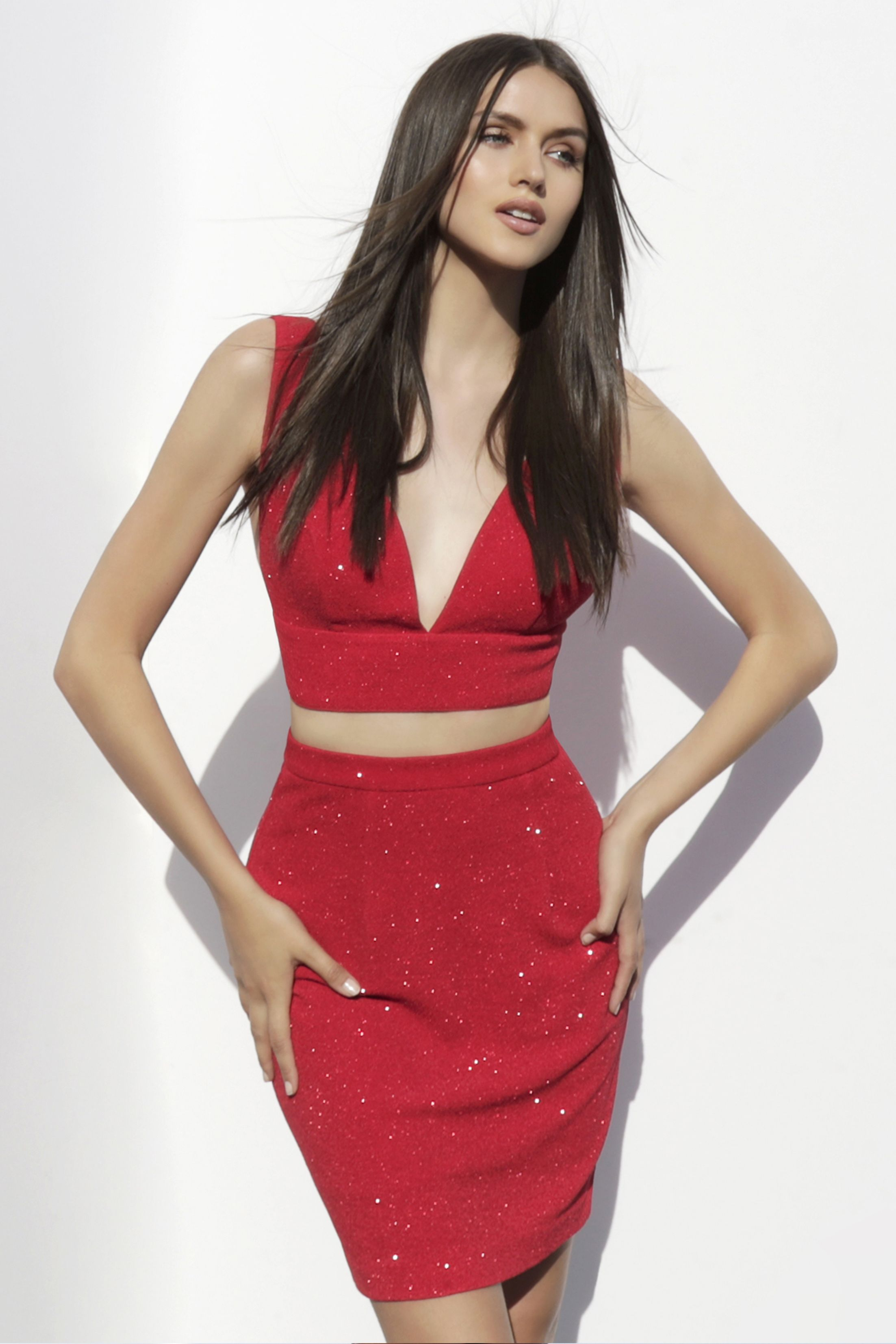 Two piece glitter jersey fitted homecoming dress from jvn by jovani