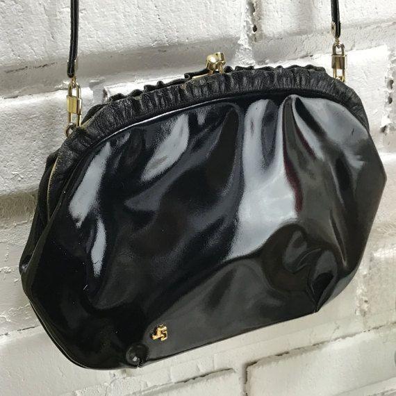 Vintage Jane Shilton Black Patent Leather Shoulder Handbag Made In England By Theoldjunktrunk