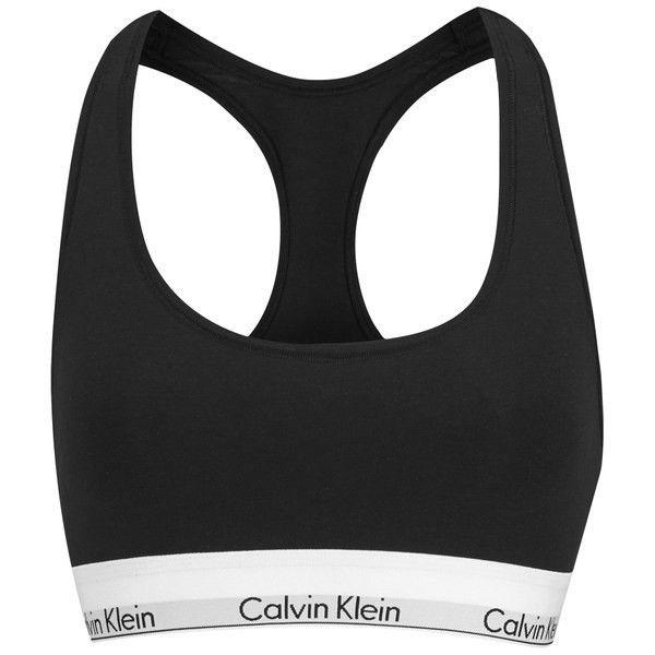 28ce4c1eedaa2a Calvin Klein Women s Logo Bralette - Black (365 SEK) ❤ liked on Polyvore  featuring intimates