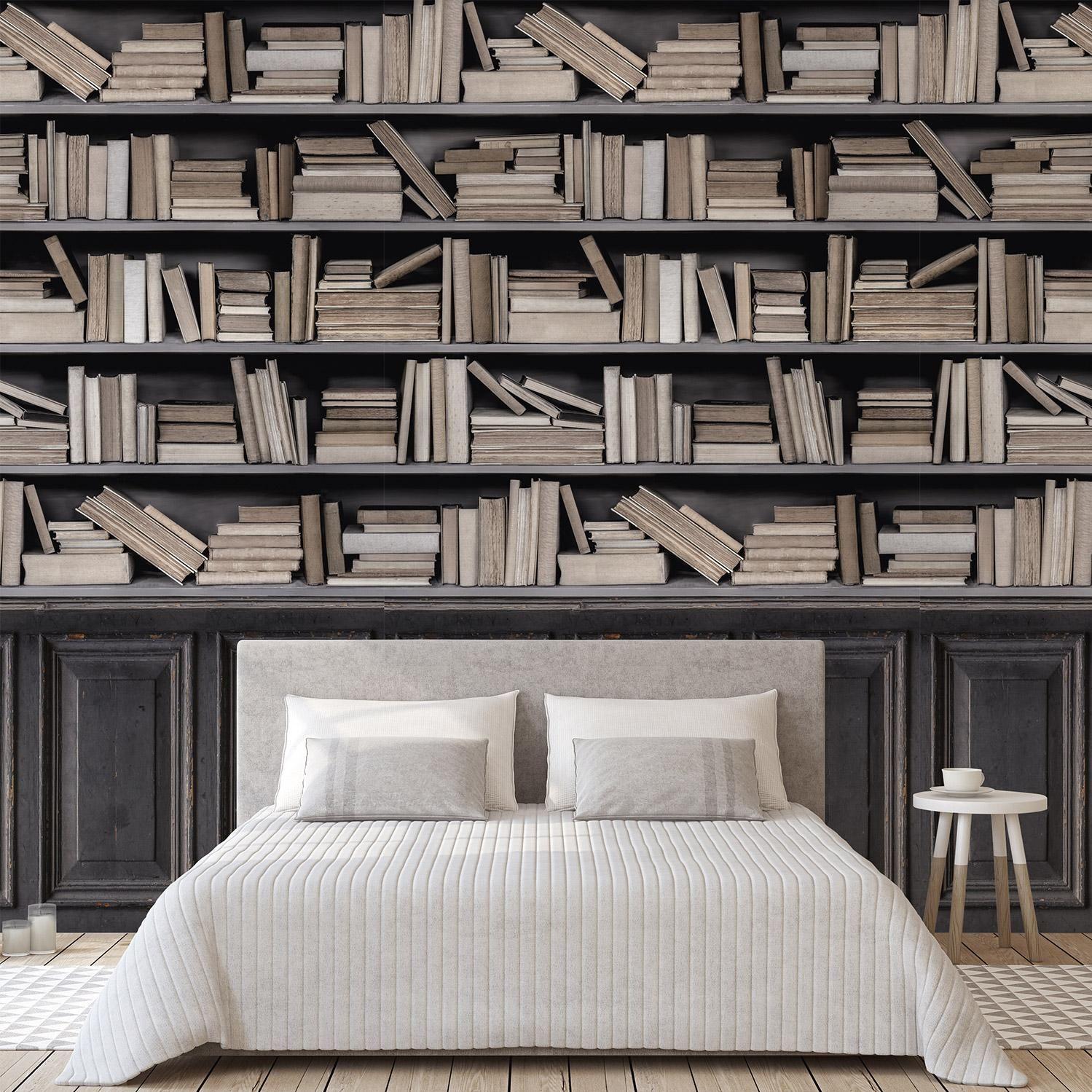 Papier Peint Capitonné Gris papier peint vinyle sur intissé bookshelf marron et gris