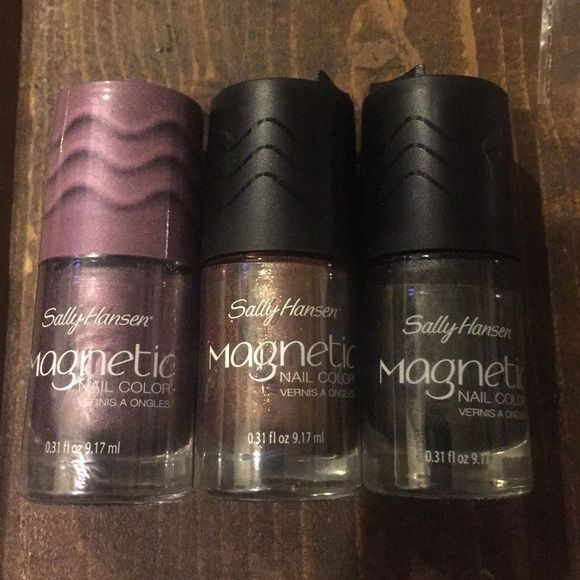 Sally Hansen Magnetic Nail Color 3 colors!! Sally Hansen Magnetic Nail Color 3 colors!!  Two opened to try but didn't work, one missing the magnet. One brand new unopened. Other