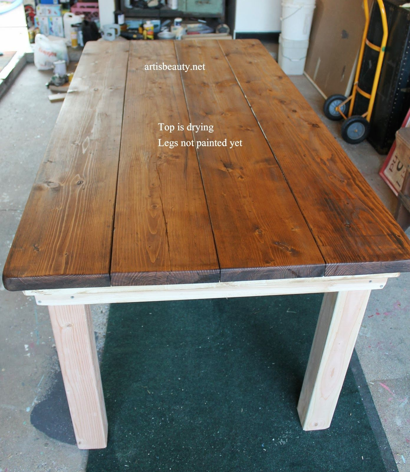 diy farmhouse table with provincial stained top, featured