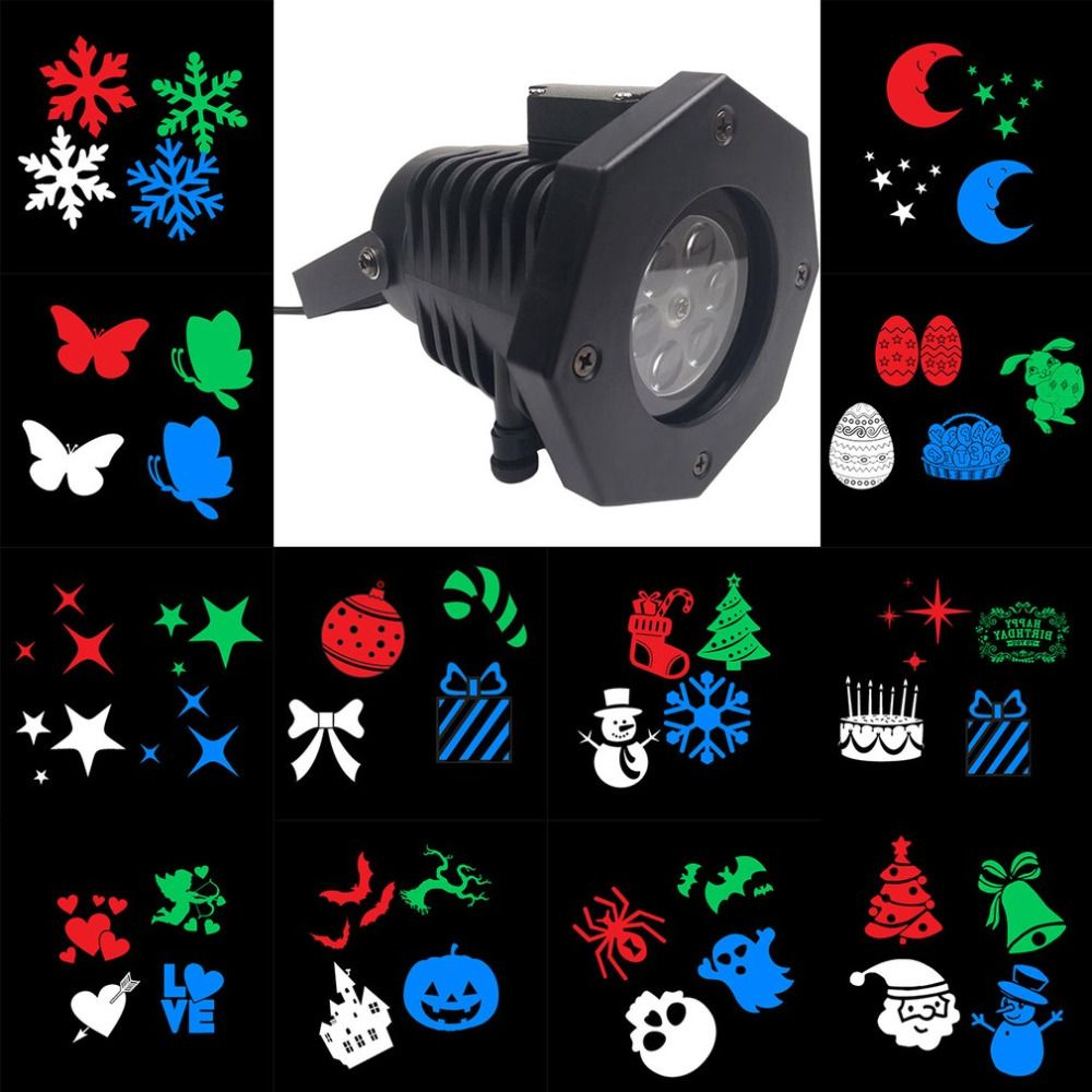 Outdoor Led Lawn Lamps Laser Spots Projector Waterproof 12 Cards Party Light Christmas Xmassnowflake Lig Outdoor Lawn Christmas Decorations Tree Stage Lighting