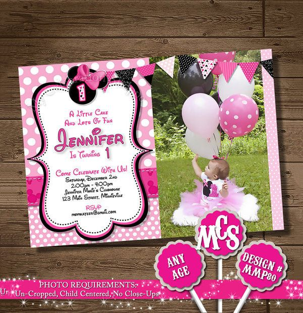 Awesome Minnie Mouse Invitation Template Free PSD Vector EPS - Party invitation template: minnie mouse party invitations templates