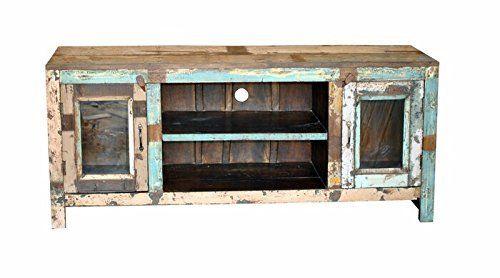 Reclaimed Wooden 2 Glass Door Entertainment Vintage Home Restaurant