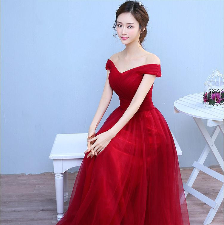 8c4c7aa5ad0 W73086 Toast dress new bride Korean word shoulder engagement dress wedding  dress skirt bridesmaid dress long section Red 14