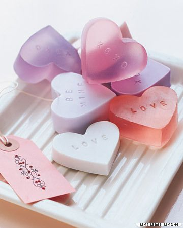 ♥Gifts for Her♥.....Heart-Shaped Soaps  These handmade soaps can be stamped with any message, or made in a variety of shapes to suit your gift-giving needs this season.