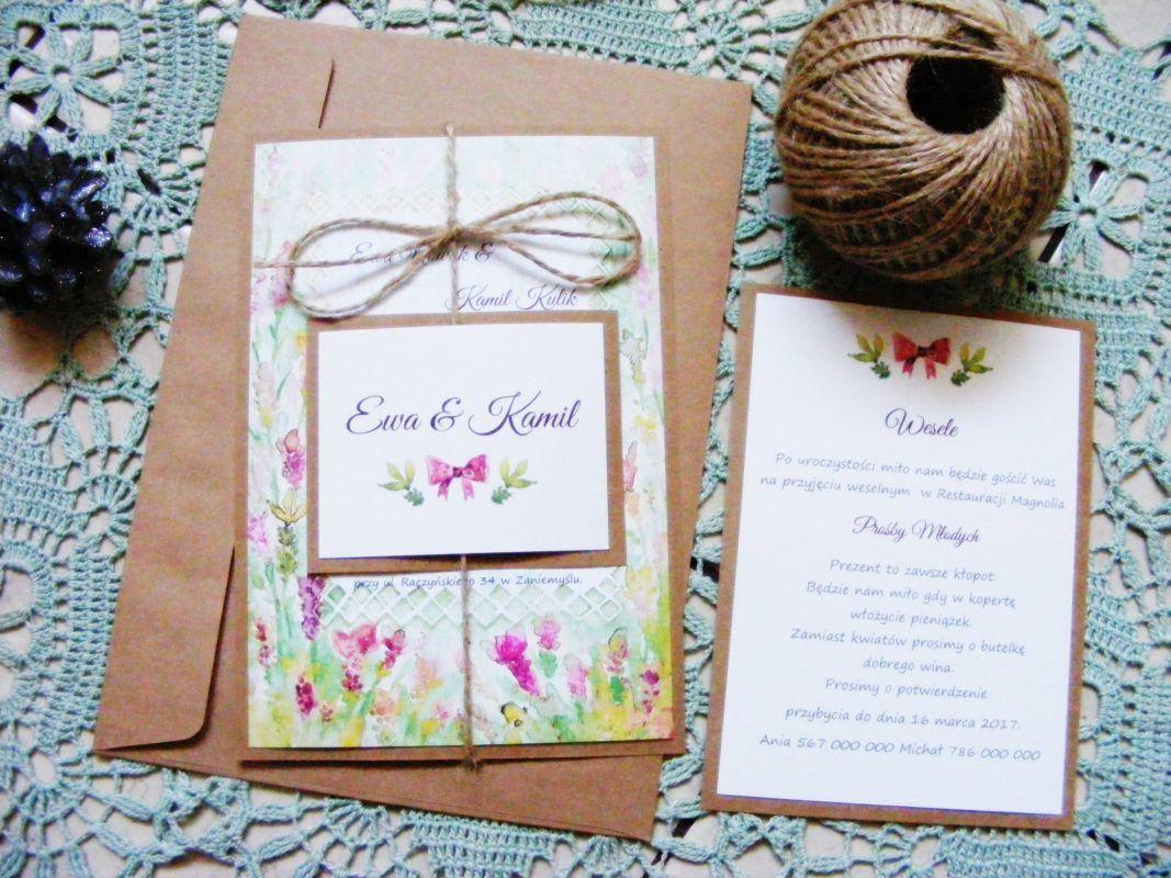 Zaproszenia ślubne łąka kwiatowa akwarelowe W1