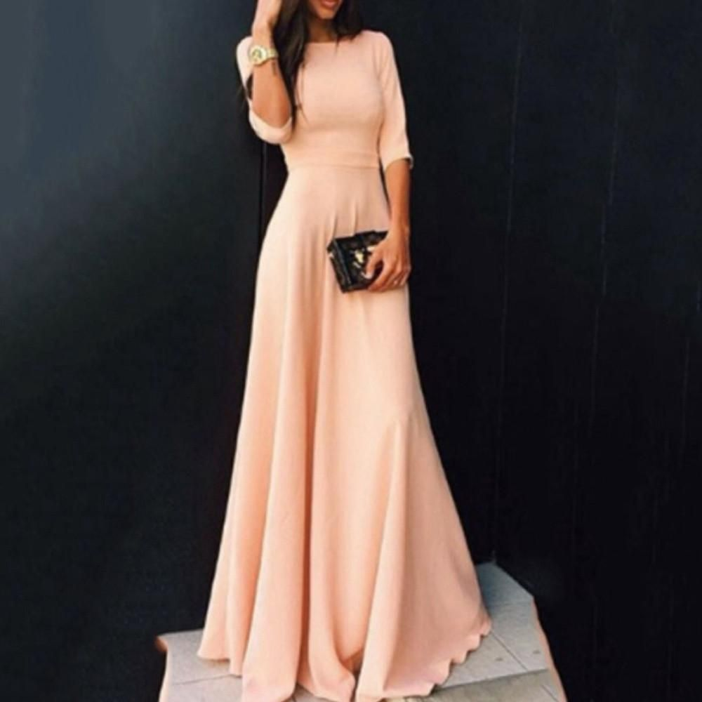 8dfb528d Women Ladies Half Sleeve Floor Length Dress Casual Loose Party Dress ...