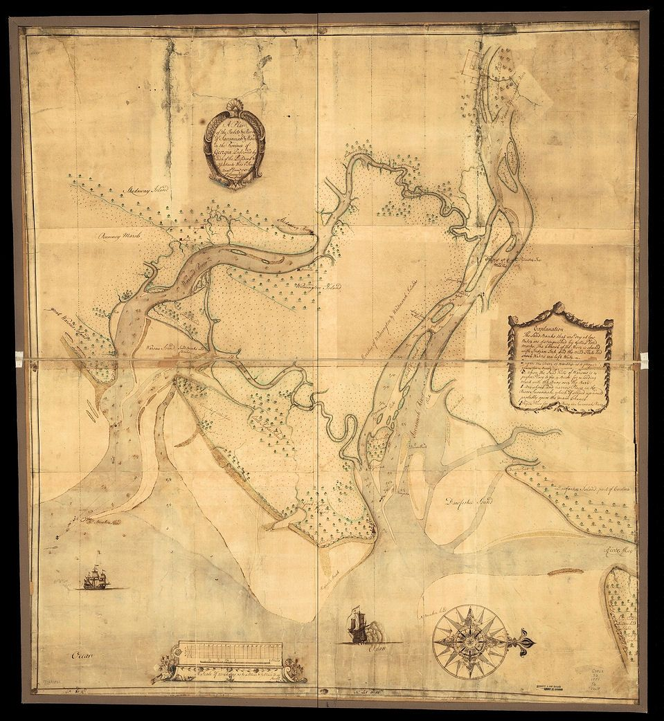 Show Map Of Georgia.1860 Civil War Map Of Savannah Ga The Map Shows The Rivers And