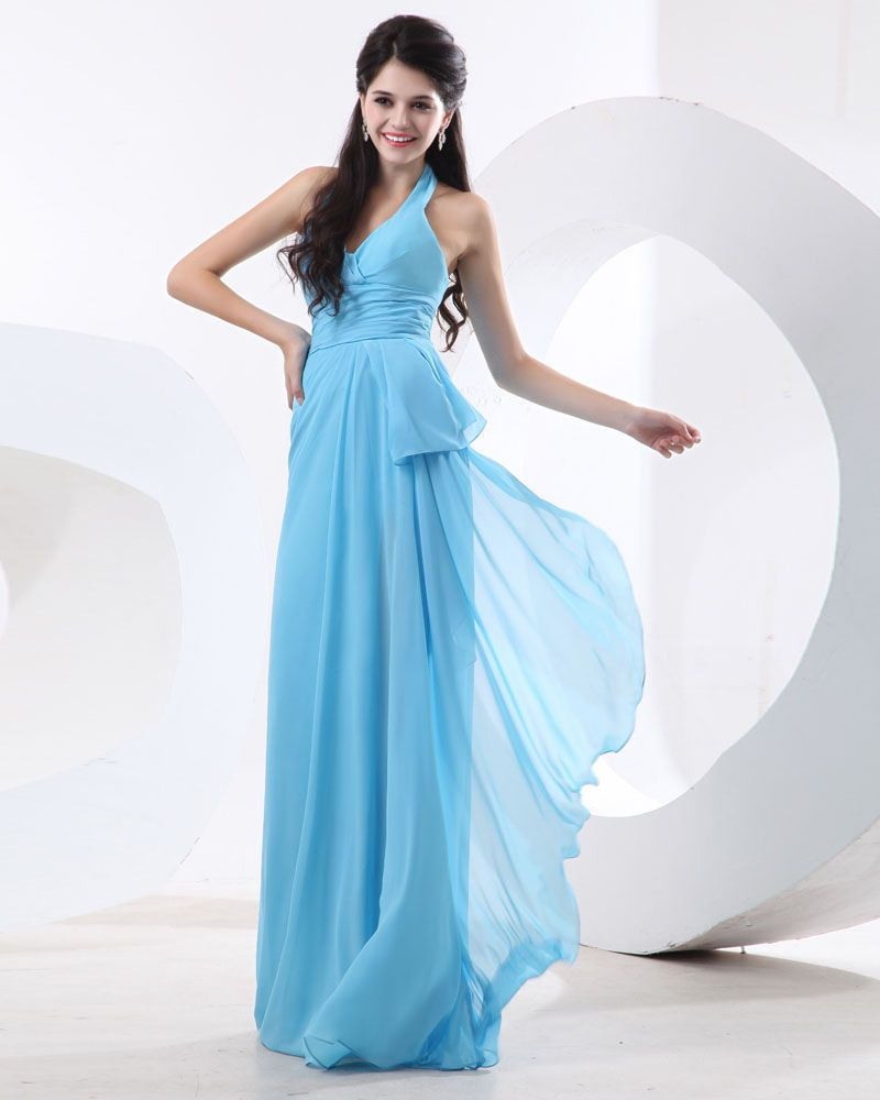 Chiffon ruffles sleeveless halter floor length bridesmaid dresses