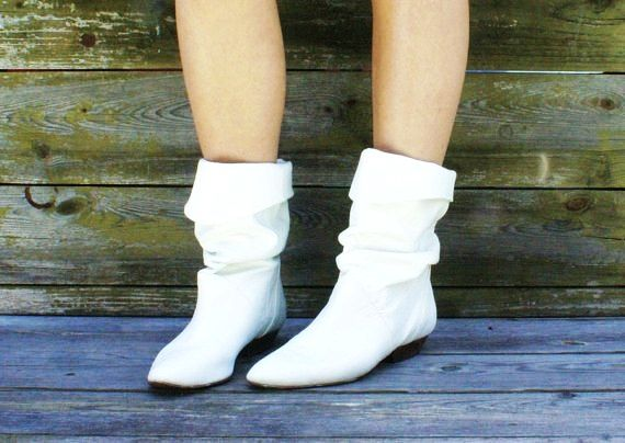 vintage 80s White Leather Flat Indie ankle Boots | A1 WEDDING