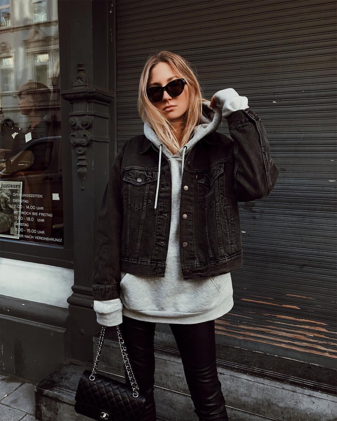 12 4 Tys Otmetok Nravitsya 357 Kommentariev Elisa Ludwig Allaboutelisa V Instagram Leather Pants His H Denim Jacket Women Athleisure Fashion Fashion