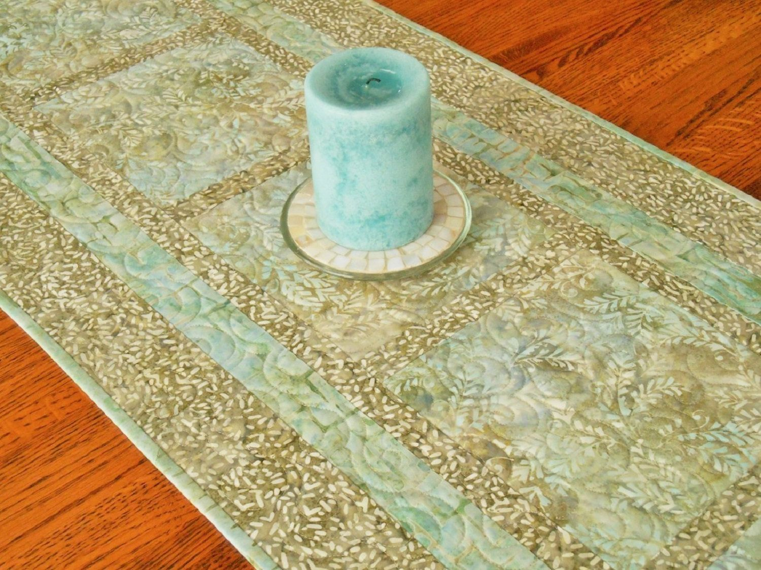 Quilted Batik Table Runner In Shades Of Aqua Taupe Khaki Bedroom Dresser Decor Bureau Scarf Dining Ta Dining Table Runners Batik Table Runners Dresser Decor