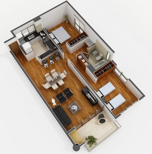 plano de apartamento de 2 habitaciones arquitectura