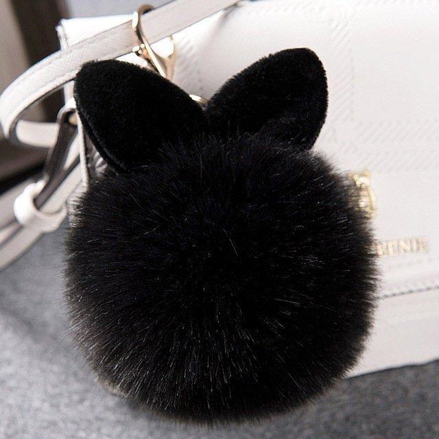 Fluffy Bunny Keychain - Black