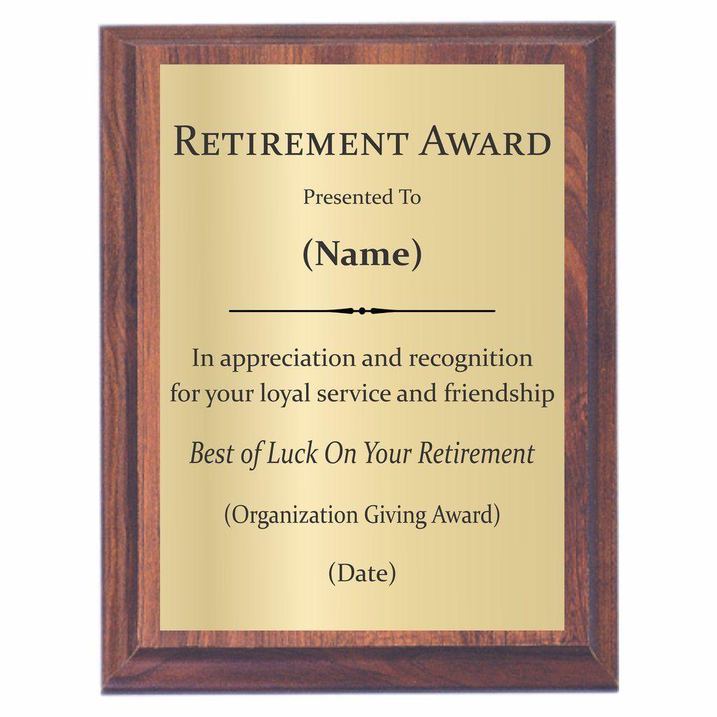Retirement Plaque Retirement Plaques Award Plaques Plaque