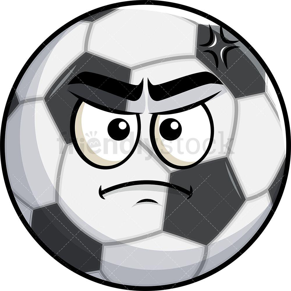 Annoyed Soccer Ball Emoji Cartoon Clipart Vector Friendlystock Soccer Ball Cartoon Clip Art Emoji Clipart