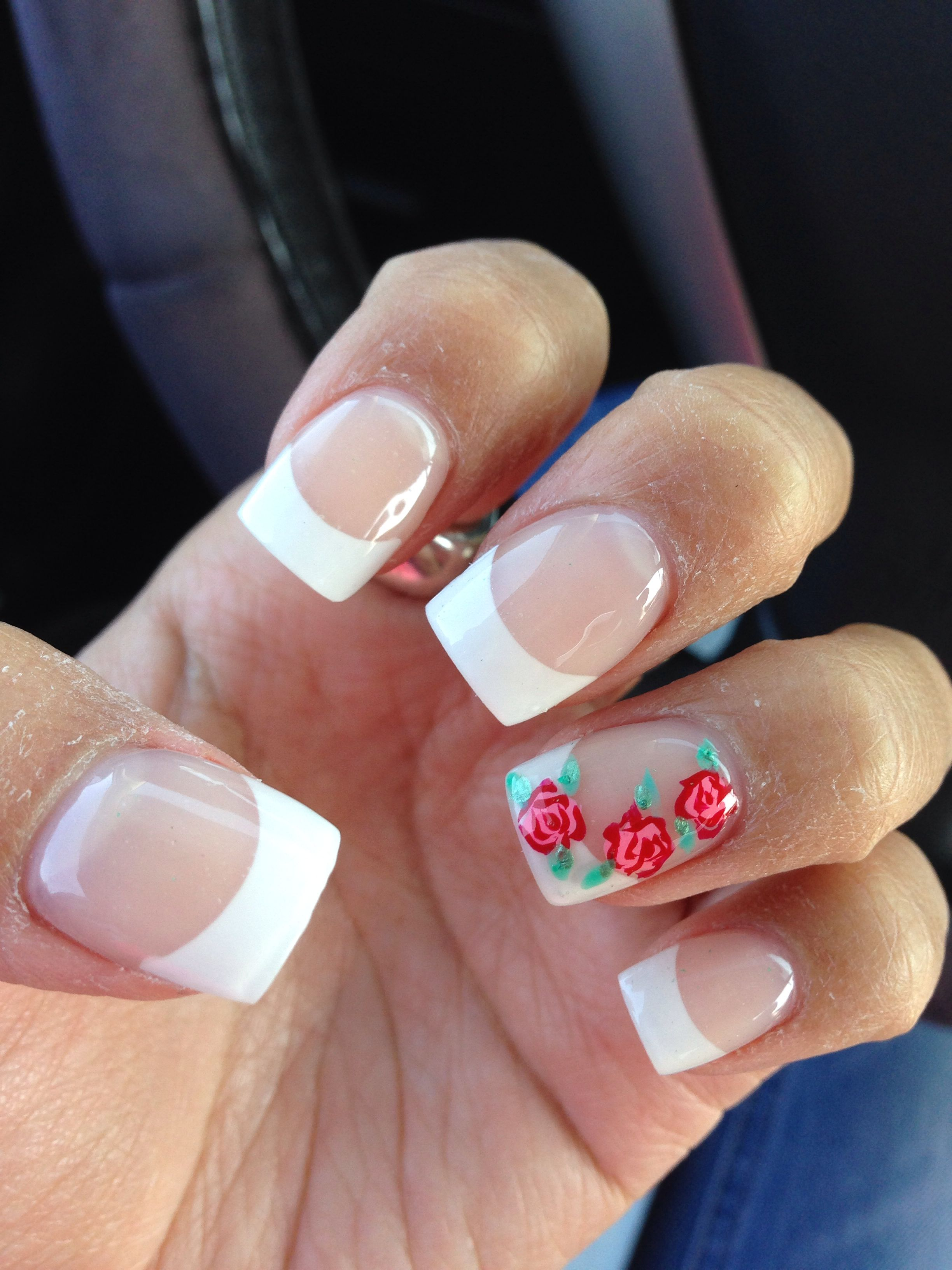 French Tip With Roses Design Rose Nails French Tip Acrylic Nails Rose Nail Art