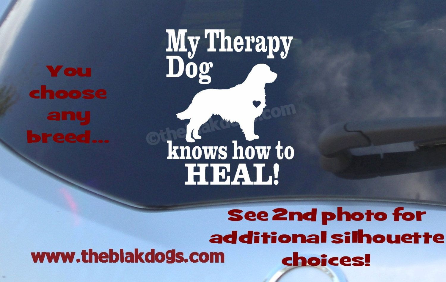 Car decal dog decal vinyl sticker my therapy dog knows how to heal vinyl decal golden retriever labrador retriever cavalier poodle by blakdogs on