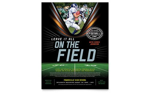 Football Training Flyer Word Template Publisher Template