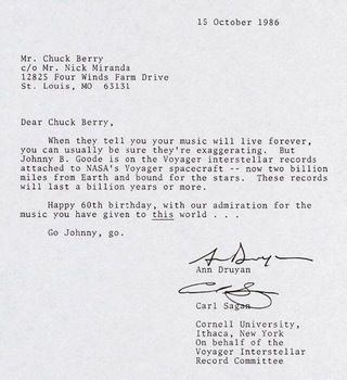 The Letter Carl Sagan Wrote To Chuck Berry For BerryS Th