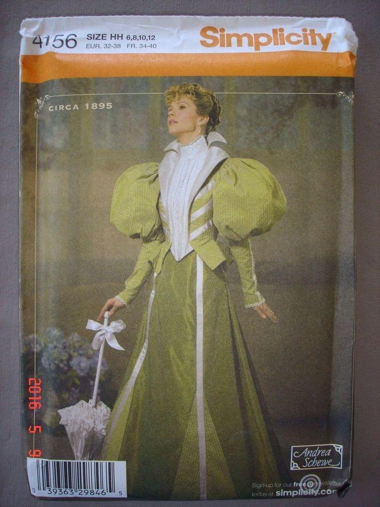 SEWING PATTERN Simplicity 4156 Victorian Era Dress, Civil War, Szs 6 ...