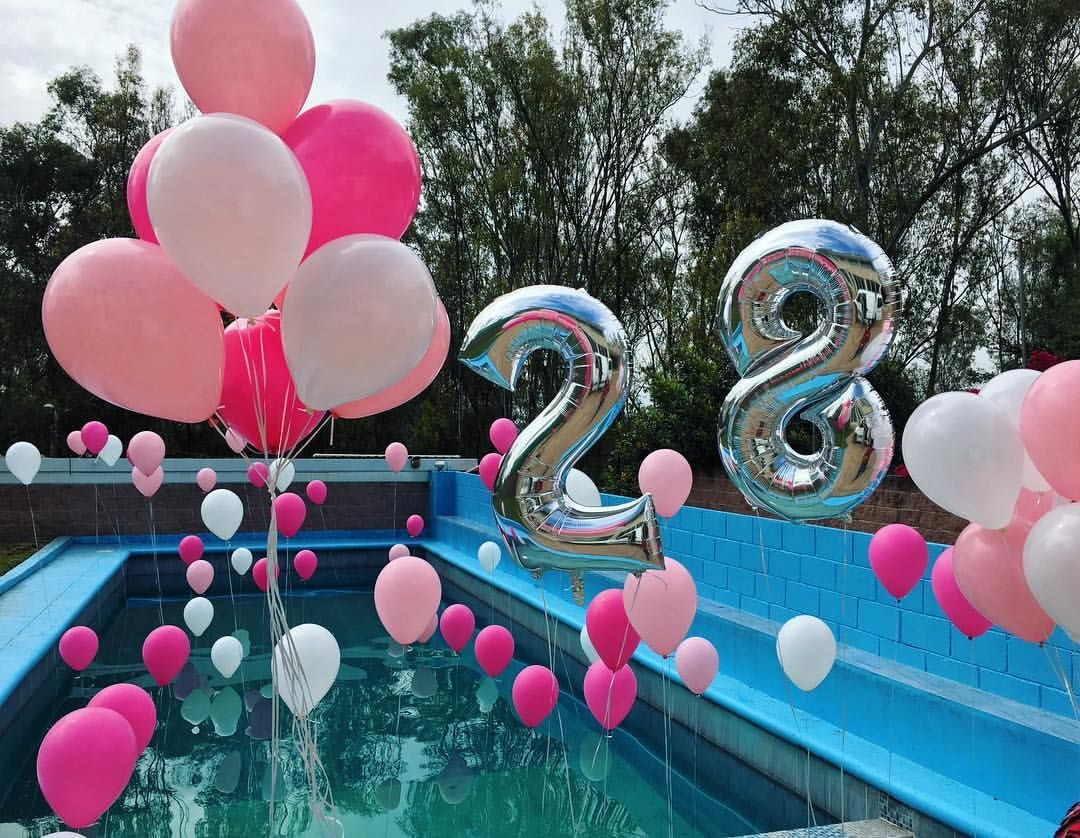 Globos balloons alberca decoraci n poolparty party - Ideas para cumpleanos en piscina ...