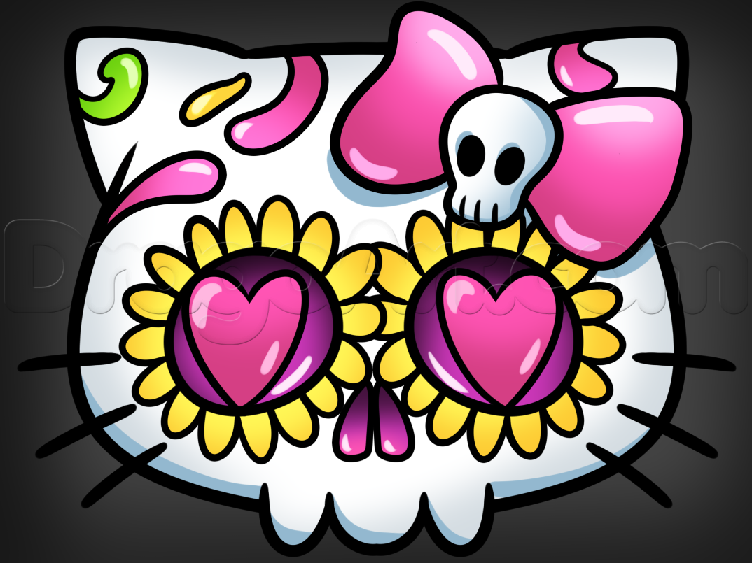 hello kitty sugar skull drawing lesson | paintings | Pinterest ...