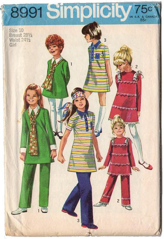 Vintage 1970s Simplicity Sewing Pattern 8991 Girls Dress and Pants ...