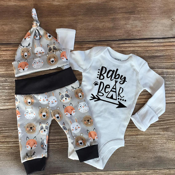 Photo of Gray Forest Woodland Coming home Outfit, Baby Bear, Going Home Outfit, Baby Animal, Newborn Boy outfit, Baby Boy Outfit,READY TO SHIP